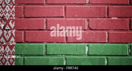 Belarus flag on texture brick wall - Stock Photo