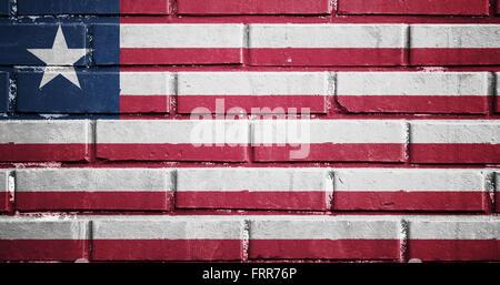 Liberia flag on texture brick wall - Stock Photo