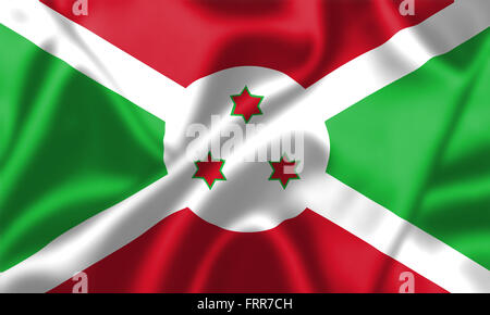 Burundi flag blowing in the wind. Background texture. - Stock Photo