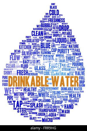 Drinkable water word cloud shape concept - Stock Photo
