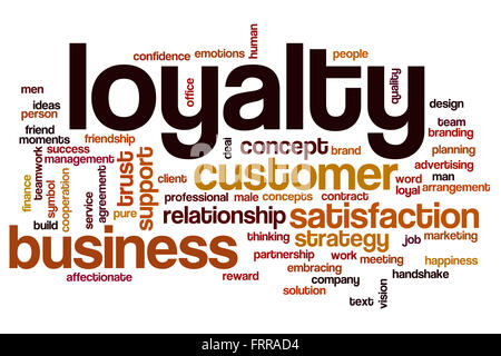 Loyalty word cloud concept with business trust related tags - Stock Photo