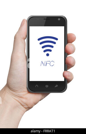 NFC near field communication hand holding smartphone - Stock Photo