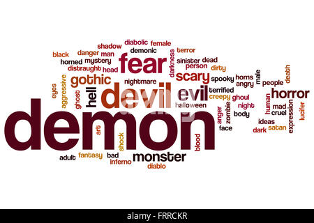 Demon word cloud concept with evil fear related tags Stock ...