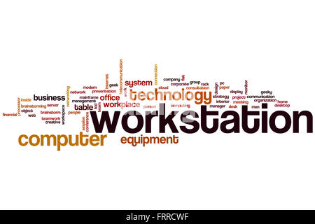 Workstation word cloud concept with computer equipment related tags - Stock Photo
