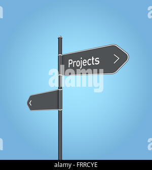 Projects nearby, dark grey road sign concept on blue background - Stock Photo