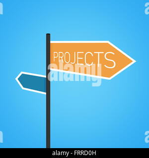 Projects nearby, orange road sign concept on blue background - Stock Photo