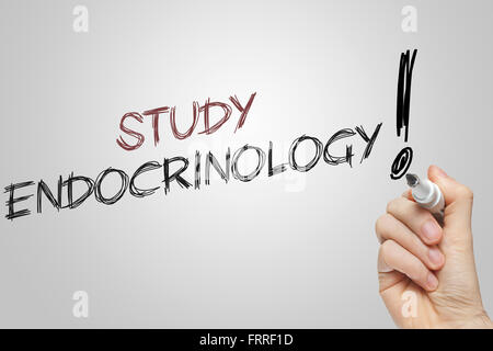 Hand writing study endocrinology on grey background - Stock Photo