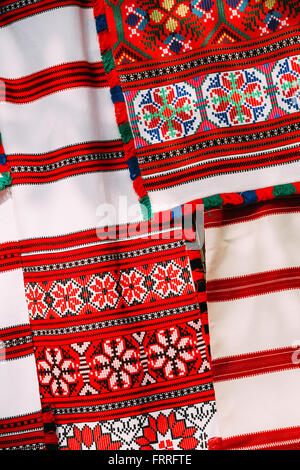 Belorussian ethnic national folks ornament on clothes. Slavic Traditional Pattern Ornament Embroidery. Culture of - Stock Photo