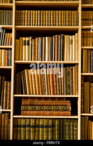 Shelves full of leather bound books. - Stock Photo