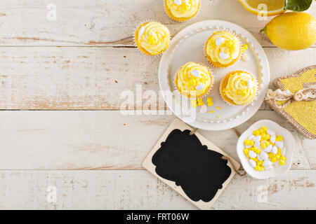 Lemon cupcakes for Easter - Stock Photo