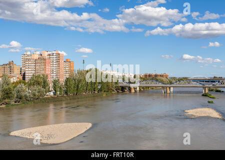 River Ebro in Zaragoza,Aragón,Spain. - Stock Photo