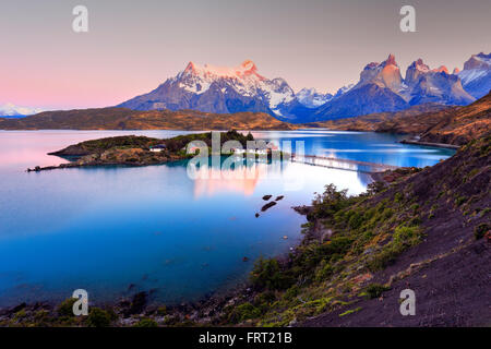 Lake Pehoe, Torres del Paine National Park, Chile - Stock Photo