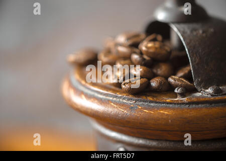 Coffee mill with coffee beans close-up - Stock Photo
