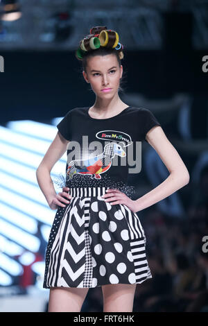 ZAGREB,CROATIA - MARCH 19, 2016: Model wearing clothes designed by Zoran Aragovic on the Bipa Fashion.hr fashion - Stock Photo