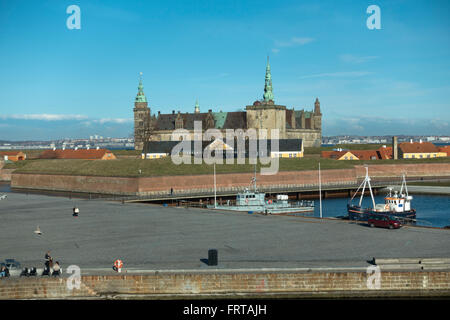 View of the harbour and Kronborg Castle towards the Sound and Sweden from the Culture Yard in Elsinore / Helsingør - Stock Photo