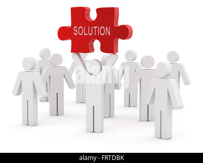 3d white people and red solution puzzle , This is a computer generated and 3d rendered picture. - Stock Photo
