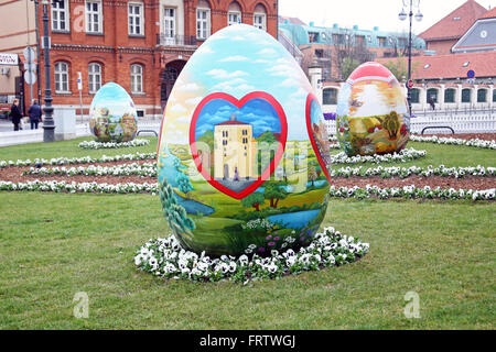 Big Easter eggs in front of the Cathedral,5,Zagreb,2016. - Stock Photo