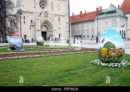 Big Easter eggs in front of the Cathedral,9,Zagreb,2016. - Stock Photo