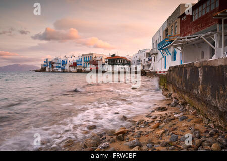 View of Little Venice in the town of Mykonos early in the morning, Greece. - Stock Photo