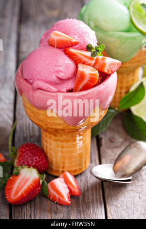 Variety of ice cream in bowls - Stock Photo