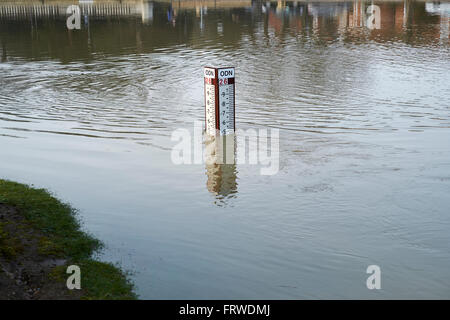 A river level gauge measures the height of floodwater flowing in the River Great Ouse, Bedford, Bedfordshire, United - Stock Photo