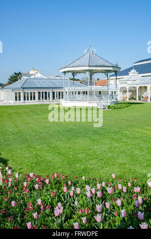 The Victorian bandstand at Princess Pavilion in Falmouth, Cornwall, UK - Stock Photo