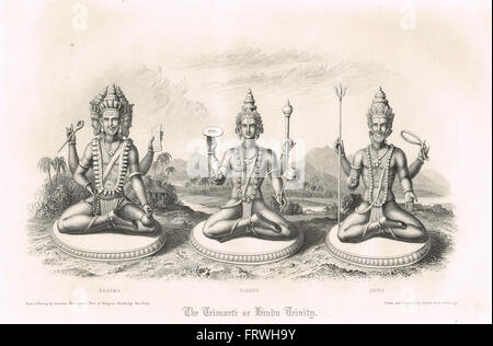 The Trimurti or Hindu Trinity Brahma Vishnu & Shiva - Stock Photo