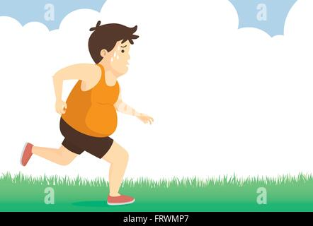 Fat man feeling tired to jogging in park - Stock Photo