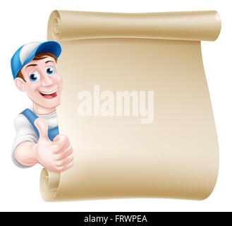 Cartoon mechanic, plumber, handyman, decorator or gardener leaning around a scroll and giving a thumbs up - Stock Photo