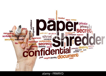 Paper shredder word cloud concept - Stock Photo