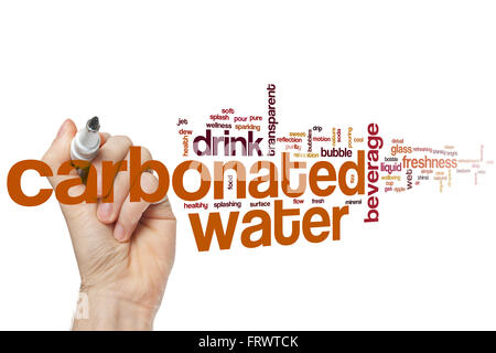 Carbonated water word cloud concept with beverage drink related tags - Stock Photo