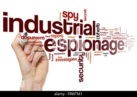 Industrial espionage word cloud concept with security theft related tags - Stock Photo
