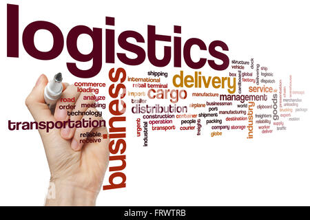 Logistics word cloud concept - Stock Photo