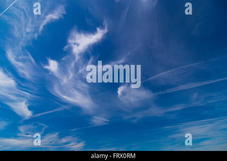 Daytime sky with cirrus and stratus clouds wide-angle contrast daytime nature background - Stock Photo