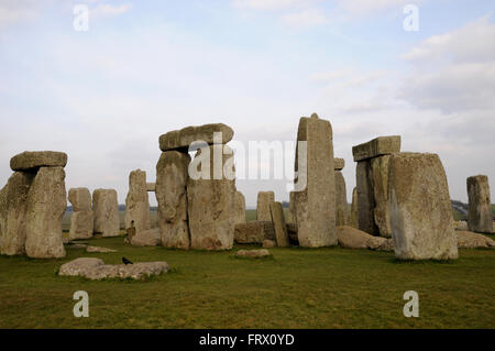 The standing stones at Stonehenge, an Iconic UNESCO World Heritage site in the English County of Wiltshire no far - Stock Photo