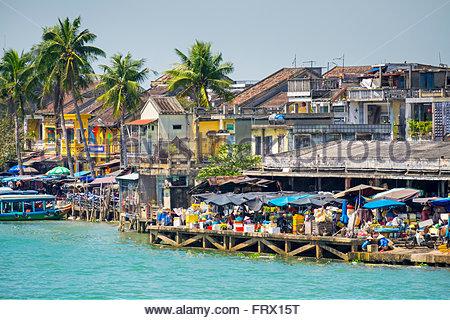 Town of Hoi An on the Thu Bon River, Quang Nam Province, Vietnam - Stock Photo