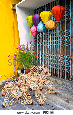 Unfinished silk lanterns on the street in Hoi An, Quang Nam Province, Vietnam - Stock Photo