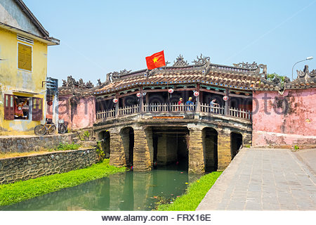 The Japanese Covered Bridge in Hoi An ancient town, Hoi An, Quang Nam Province, Vietnam - Stock Photo