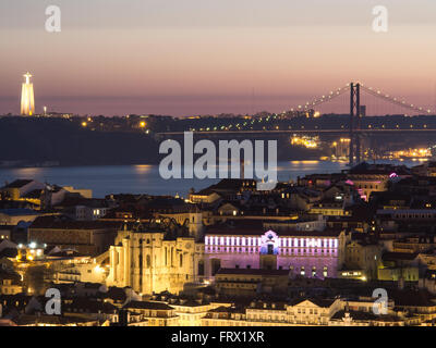 25 de Abril bridge over Tagus river, Cristo Rei and Carmo ruins - Stock Photo