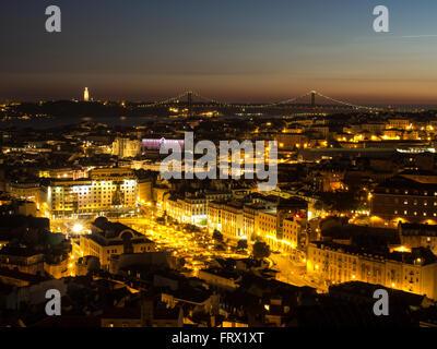Beautiful view of Lisbon at night - Stock Photo