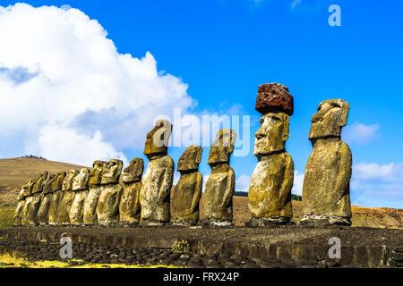 Standing Moai at Ahu Tongariki on Easter Island, Chile - Stock Photo