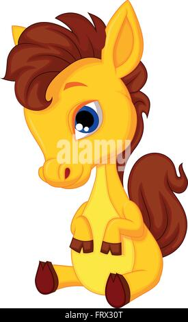 Cute baby horse cartoon - Stock Photo