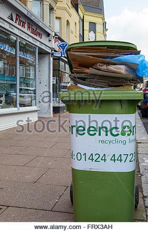 Wheelie bin blocking pavement, Bexhill-on-Sea, East Sussex, England, UK - Stock Photo