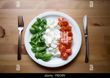 Italy on a plate. Best Italian ingredients: Basil, mozzarella and cherry tomatoes, representing also the colors - Stock Photo