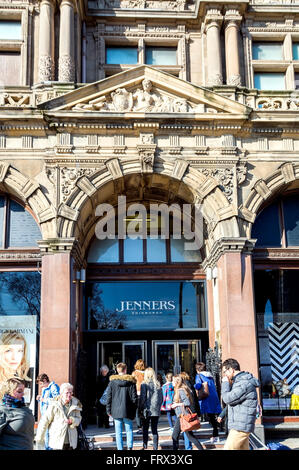 The entrance to the famous Jenners department store on Edinburgh's Princes Street. - Stock Photo
