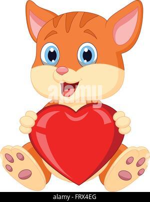 Cartoon cat holding red hart - Stock Photo