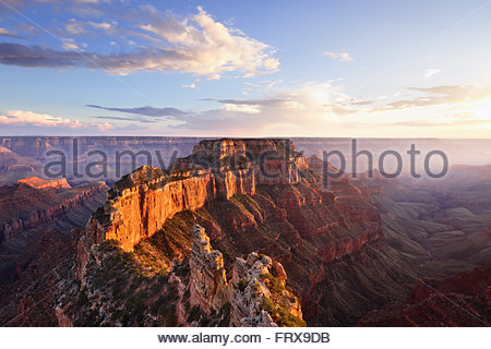 Wotans Throne, Cape Royal at Sunset, Grand Canyon North Rim, AZ - Stock Photo