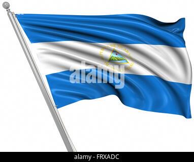 Flag of Nicaragua , isolated on white. - Stock Photo