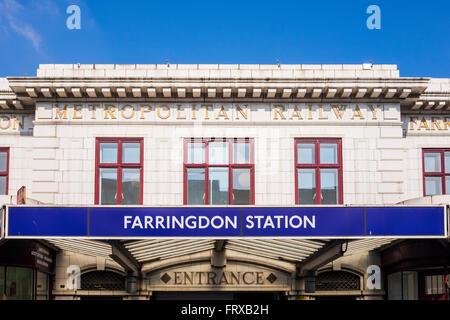 Farringdon station old entrance, London, England, U.K. - Stock Photo