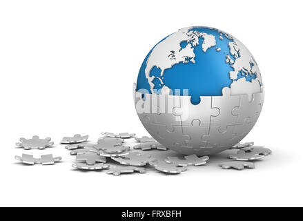 Sphere Puzzle and World Map , This is a computer generated and 3d rendered picture. - Stock Photo